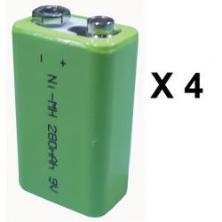 Lot de 4 batteries rechargeable 8.4v 9v 200ma nickel metal hybride 6f22 v7/8ham6 6lr61