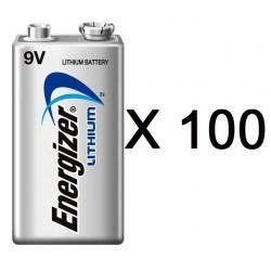 Lot de 100 piles 9v lithium energizer l522 750mah em9v 6f22 6lf22 am6 6lr61 1604a a9v 522