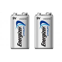 Lot de 2 piles 9v lithium energizer l522 750mah em9v 6f22 6lf22 am6 6lr61 1604a a9v 522