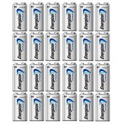Lot de 24 piles 9v lithium energizer l522 750mah em9v 6f22 6lf22 am6 6lr61 1604a a9v 522
