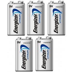 Lot de 5 piles 9v lithium energizer l522 750mah em9v 6f22 6lf22 am6 6lr61 1604a a9v 522