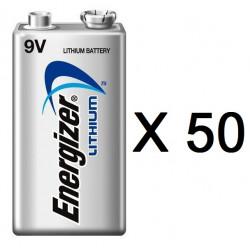 Lot de 50 piles 9v lithium energizer l522 750mah em9v 6f22 6lf22 am6 6lr61 1604a a9v 522