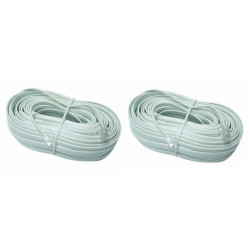 2 X Cable telephone cable for pvcm additional video monitor for video doorphone , rj12 to rj12 6p 6c, 16m video monitor cable
