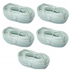 5 X Cable telefono 16m rj12 a rj12 6p 6c para porticos fonicos intercomunidores pvnm, pvcm, ckvn cable telefonia