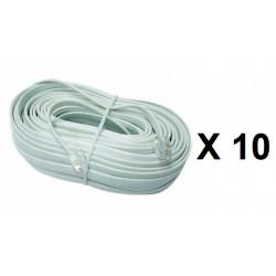 10 Cable telefono 16m rj12 a rj12 6p 6c para porticos fonicos intercomunidores pvnm, pvcm, ckvn cables telefonicos