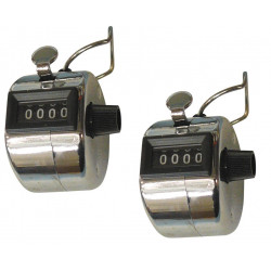 2 Chrome mechanical 4 digit counts 0-9999 hand held manual tally counter clicker golf