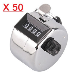 50 Chrome Handheld Tally Counter 4 Digit Display for Lap/Sport/Coach/School/Event