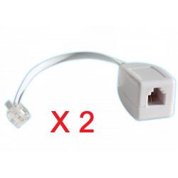 Lot de 2 parafoudres telephonique 1 ligne rj11 tel fax/modem compatible rj12