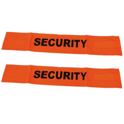 2 Fluorescent velcro cuff security road safety high visibility orange arm protection