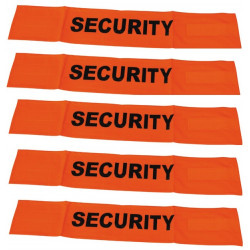 5 Fluorescent velcro cuff security road safety high visibility orange arm protection