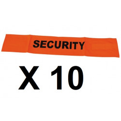 10 Fluorescent velcro cuff security road safety high visibility orange arm protection