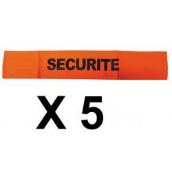 5 Armband securite orange fluorescent velcro security armband security