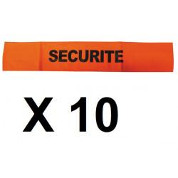 10 Armband securite orange fluorescent velcro security armband security