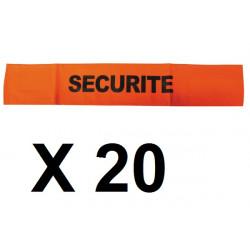 20 Armband securite orange fluorescent velcro security armband security