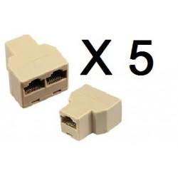 5 Rj45 splitter 1 2 ethernet network connecter