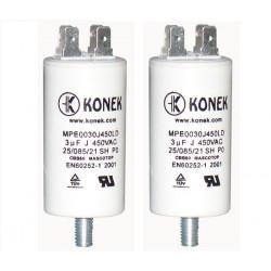 2 Condensatore 3 mf micro farad 450v condensatore di avviamento motore universale con capocorda w1 11003
