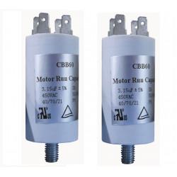2 Condensatore 3.15 mf micro farad 450v condensatore di avviamento motore universale con capocorda w1 11003