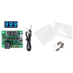 Thermostat Digital 12v + box contrôle température -50 a +110C sonde chaud froid w1209 relais 10a