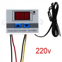 Contrôleur Thermostat  Régulateur Température Refroidissement et Chauffage Contrôle LED Commutateur avec Capteur Sonde