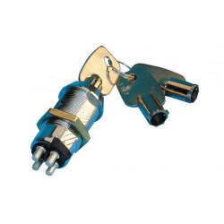 Serrure clé electrique a pompe commutateur momentane impulsions 4pl 3 clefs rondes ouverture portes