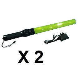 2 Baton lumineux jaune accu rechargeable + chargeur signalisation police route circulation auto avion