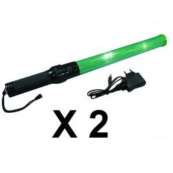 2 Baton lumineux vert batterie rechargeable et chargeur route circulation voiture automobile avion