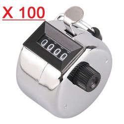 100 Chrome  Hand Held Tally Counter 4 Digit Mechanical Palm Clicker Counter