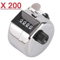 200 Chrome Handheld Tally Counter 4 Digit Display for Lap/Sport/Coach/School/Event