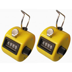 2 Yellow counter manual button click hand tally mechanical 4 digit number counts 0-9999