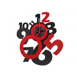 Horloge murale a monter soi-même design rouge et noir autocollante silencieuse polypropylène wcs2