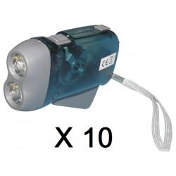 Lot de 10 lampes 2 led torche dynamo sans pile se charge en quelques pressions innovaley