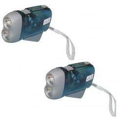 Lot de 2 lampes 2 led torche dynamo sans pile se charge en quelques pressions innovaley