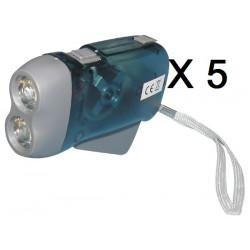 Lot de 5 lampes 2 led torche dynamo sans pile se charge en quelques pressions innovaley