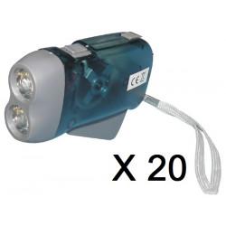 Lot de 20 lampes 2 led torche dynamo sans pile se charge en quelques pressions innovaley