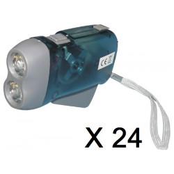 Lot de 24 lampes 2 led torche dynamo sans pile se charge en quelques pressions innovaley