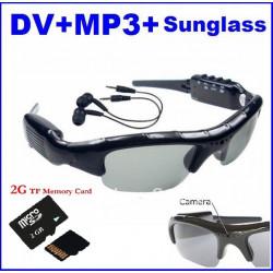 Cámara espía gafas de sol mp3 embarquée dv86 grabación gafas espía sol escuchando