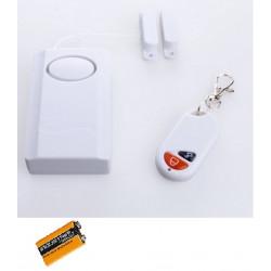 Contact + pile 9v pour porte ou fenetre alarme sans fil avec sirene et telecommande marche arret