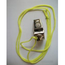 Sifflet métal à roulette a bille avec cordon arbitre boite de nuit police militaire tonalité haute
