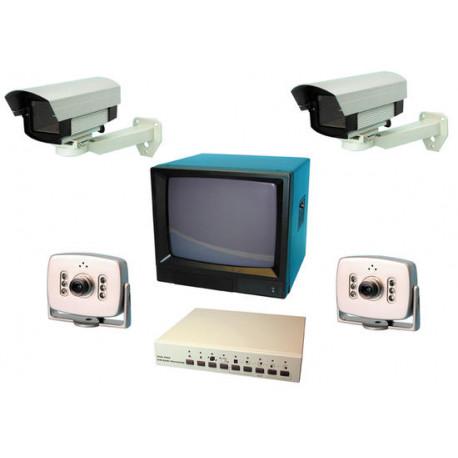 Video surveillance pack 14'' 35cm b w quad processor video pack 4 cameras extensible to 8 video surveillance system protection p