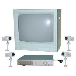 Kit vigilancia video quadravision 45cm 20'' 4 camaras video vigilancia kit camaras ordenadores