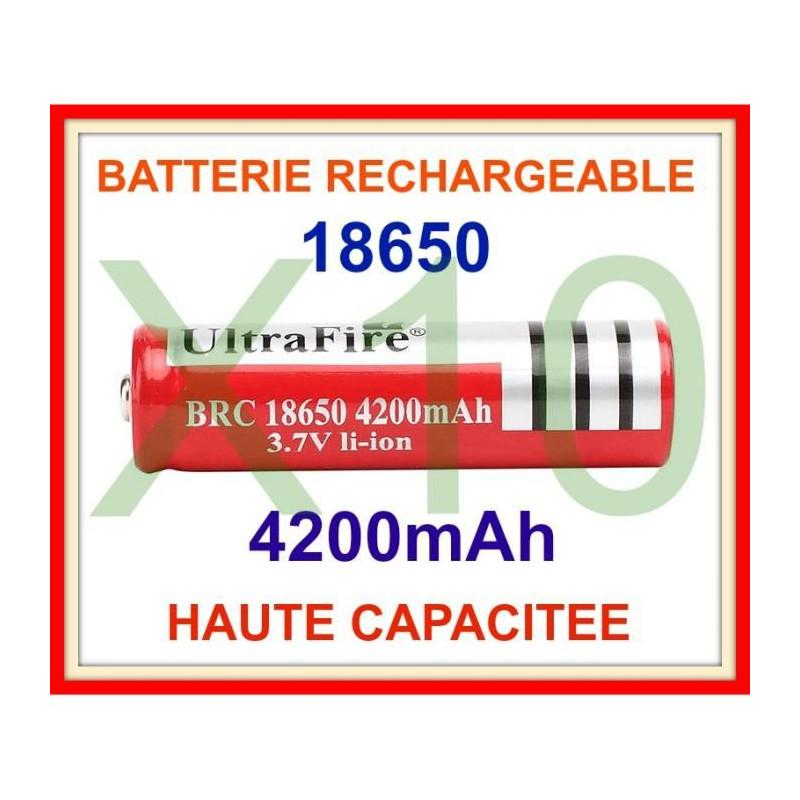 10 battery ultrafire 3 7v 4200mah 18650 rechargeable li-ion