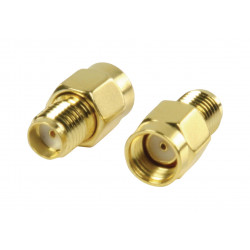 Adapter converts RP SMA male to SMA female