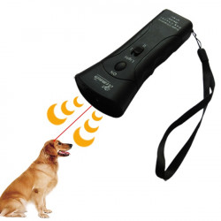 Double Heads Ultrasonic Dog Repeller Super Dog Chaser and dog traning with LED light and Laser 4 in 1 for Dogs Cats