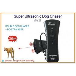 Jefes doble ultrasónica del reflector del perro / Super Dog Chaser y traning perro con luz LED y láser 4 en 1