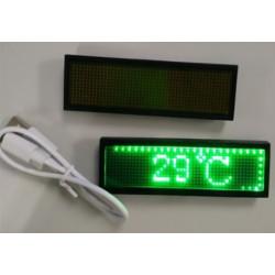 Mini ricaricabile display a led verde programmabile nome distintivo Scrolling Con programmazione USB, lingue diverse, 8 compatib