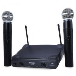 Receptor hf + 2 microfonos vhf 170 260mhz 30 130m receptores + micros professionales