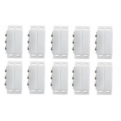 Lot de 10 Contacteur detecteur magnetique ouverture alarme contact no nf saillie ivoire capteur