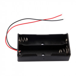 3.7V Clip Holder Box Case Black With Wire for 2 18650 Battery