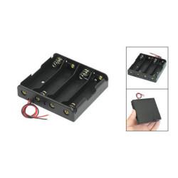 Negro 4 x 3.7V 18650 puntiagudas caso Holder Cables de alambre Tip batería