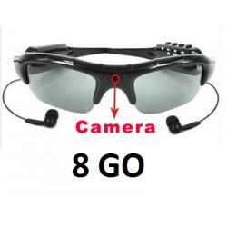 Lunettes soleil + sd 8 go camera embarquee espion mp3 dv86 enregistrement spy sun glasses ecoute